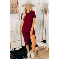True Desires Knotted High-Low Dress (Burgundy)