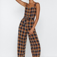 Button or Nothing Check Jumpsuit