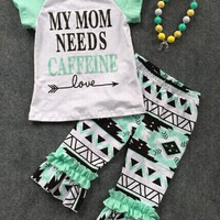 baby clothes shorts sets aztec pant MY MOM NEED CAFFEINE kids boutique shorts outifts baby kids clothes with necklace
