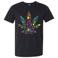 Neon Party Pot Leaf Asst Colors Mens Fitted Tee