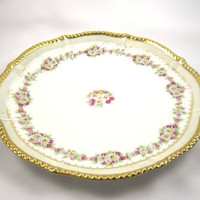 Limoges Flower Plate, Vintage with Gilded Accents, White Daisies, Flowers