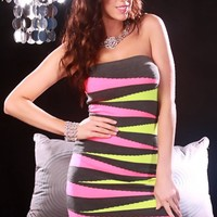 Charcoal Multi Color Block Style Party Dress