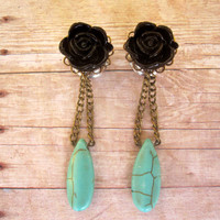 """Pair of Flower and Turquoise Drop Plugs - MORE COLORS - Handmade Gauges - 0g, 00g, 7/16"""", 1/2"""" - Antique Brass"""