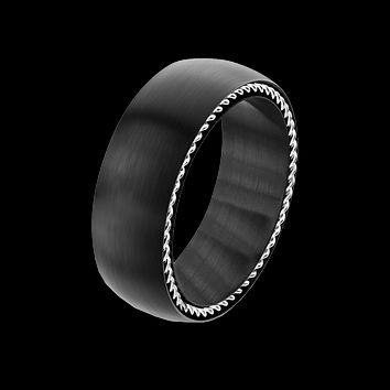 Steel Cable - Men's Stainless Steel Matte Black Ring With Steel Cables on Both Sides