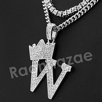 King Crown W Initial Pendant Necklace Set.