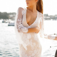 White V-Neck Bell Sleeve Floral Lace Bodycon Mini Dress