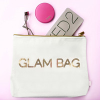 Glam Bag Makeup Bag in Gold Sequins