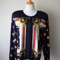 80s/90s Equestrian Baroque Print Navy Shirt Jacket // Sunflowers, Belts, Chains // Fall Fashion, Royalty Swag, Ralph Lauren Inspired // L/XL