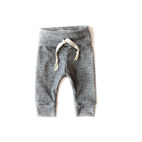 Organic Drawstring Leggings in Gray Linen