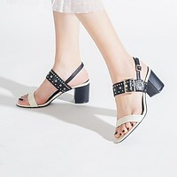 Newly sold sandals with rivets for women's high heels