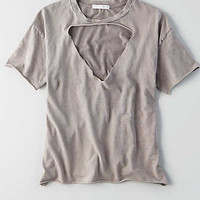 Don't Ask Why Cut-Out V-Neck T-Shirt, Charcoal