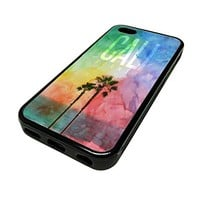 For Apple Iphone 5 or 5s Cute Phone Cases for Girls Teens Surf Beach City California Cali Design Cover Skin Black Rubber Silicone Teen Gift Vintage Hipster Fashion Design Art Print Cell Phone Accessories