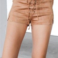 Suede My Opinion Short in Camel