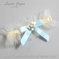 """Alice Blue and Ivory Tulle Pearl Bridal Garter """"Natalie 20"""" Silver"""