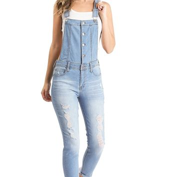 Bolt Skinny Denim Overalls