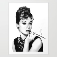 Audrey Hepburn Pencil drawing Art Print by Thubakabra