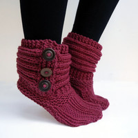 Women's knit slippers, indoor knit slippers,hand knitted slipper boots,wool knit slipper socks, Ready to ship in size 38-39(US:7.5-8.5)