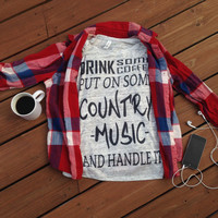 drink some coffee put on some country music and handle it Coffee shirt, coffee clothing, coffee tank tops, coffee t shirts, coffee trending