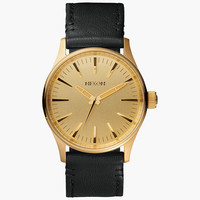 Nixon The Sentry 38 Leather Watch Gold/Black One Size For Men 25973414901
