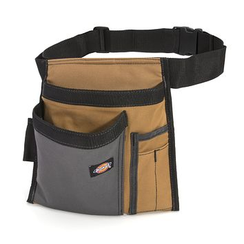 Dickies 5-Pocket Single Side Tool Belt Pouch/Work Apron for Carpenters and Builders, Durable Canvas Construction, Adjustable Belt for Custom Fit, Grey/Tan Tan