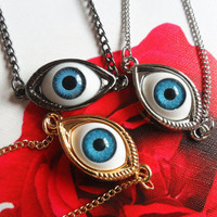Blue Evil Eye Necklace- Goth Golden/Silvery/Gun Black Mysterious Devil Angel Eyeball Metal Pendant Long/Short Lucky Necklace / Head Chain