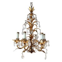 Pre-owned Gilt Tole Floral Chandelier