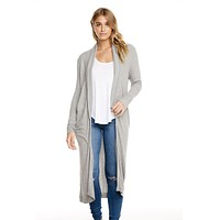 Thermal L/S Shawl Cardigan Heather Grey