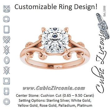 Cubic Zirconia Engagement Ring- The Paisley (Customizable Cushion Cut Solitaire with Band Flourish and Decorative Trellis)