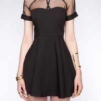 Voile Stitching Keyhole Ruffles Chiffon Solid Color Dress For Women