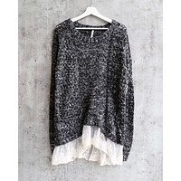 Open Knit Sweater with Lace Hem in Marle Charcoal