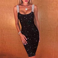 Summer sexy women shining vest dress Black