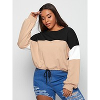 SHEIN Plus Drop Shoulder Drawstring Hem Colorblock Pullover
