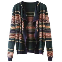 Vintage Ethnic Print Long Sleeve Cardigan