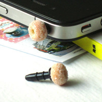 Doughnut Phone Plug Charm : Cute Kawaii Mini Food Ear Phone Jack