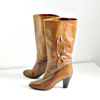 Vintage Womens Mid-Brown Leather Boots, Mid-Calf Boots by Salamander, Chunky Heel, Size 8.5, Made in Italy.