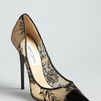 Jimmy Choo black and nude lace patent pointed toe
