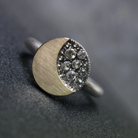 Moon and Stars Engagement Ring Gold Silver Sapphire - Sternschnuppe