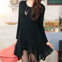 Black Long Sleeve Irregular Hem Chiffon Dress