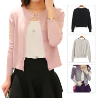 Spring And Autum Elastic Cotton Brief Knitted Sweater Round Collar Long Sleeve Button Slim Knit Cardigan for Women