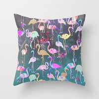 After Dark Flamingo Party  Throw Pillow by Nikkistrange