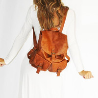 Double Pocket Snap Casual Backpack with Drawstring Closure