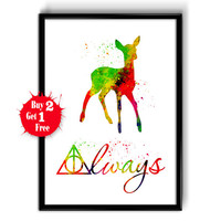 Harry Potter Always Watercolor Art Print, Art Giclee Wall Decor, Harry Potter home decor, After all this time, Harry Potter deer