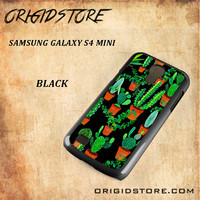 Cactus Black Pattern For Samsung Galaxy S4 Mini - Gift Present Multiple Choice