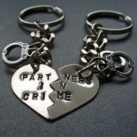 Partners in Crime Keychains - Hand Stamped Split Heart Set of Keychains - Handcuffs BFF Key chains - Best Friend Gift