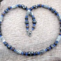 Mens tribal necklace, carved and dyed bone and blue glass beads, handmade from beautiful materials in rich colors, surfer style, OOAK