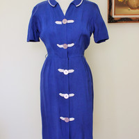 Vintage 1940s Lampl Dress in Royal Blue Linen Dress with White Chevron