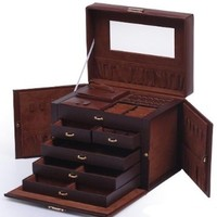 Shining Image Brown LEATHER JEWELRY BOX / CASE / STORAGE / ORGANIZER WITH TRAVEL CASE AND LOCK:Amazon:Home & Kitchen