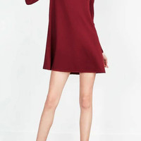 Burgundy Dress with Bell Shape Sleeves