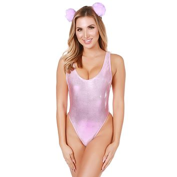 Holographic Baby Pink Baywatch Bodysuit