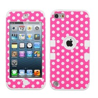 Thousand Eight(TM) iPod touch 5 (5th generation) Hard Plastic Dual Layer Tough Shield Heavy Duty Protective Case + [FREE Touch Screen Stylus] (TUFF case Dots(Pink/white)/White)